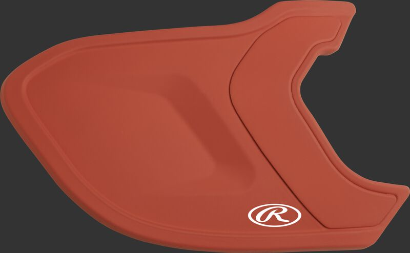 A matte burnt orange MEXT Mach EXT batting helmet extension