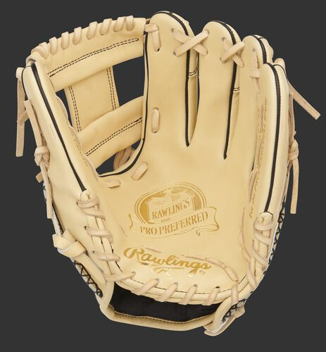 Camel palm of a Pro Preferred 11.5-Inch infield glove with a camel web and laces - SKU: PROS204-2CSS