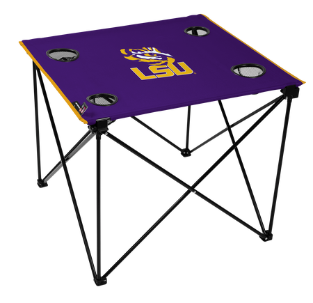 A purple NCAA LSU Tigers deluxe tailgate table with four cup holders and team logo printed in the middle