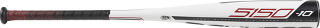 Barrel view of a UT9510 2019 5150 USSSA baseball bat with a white barrel and red/black batting grip