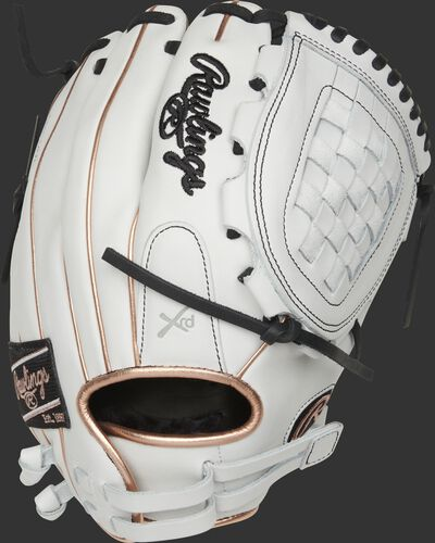 RLA120-3RG 12-Inch Liberty Advanced infield/pitcher's Basket web glove with a white back and rose gold binding/welting