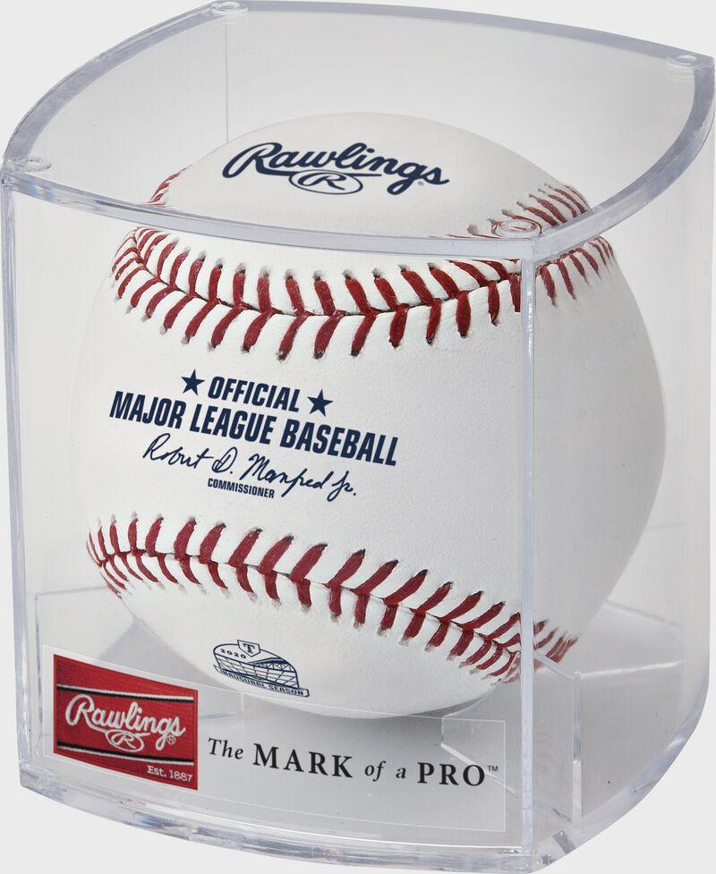A Globe Life Field inaugural season baseball in a clear display cube - SKU: ROMLBTRIN20