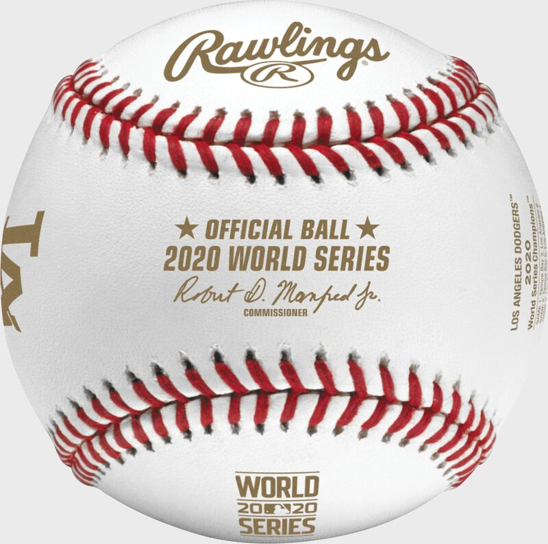 The MLB 2020 Los Angeles Dodgers World Series champions baseball with gold stamping - SKU: EA-WSBB20CHMP-R