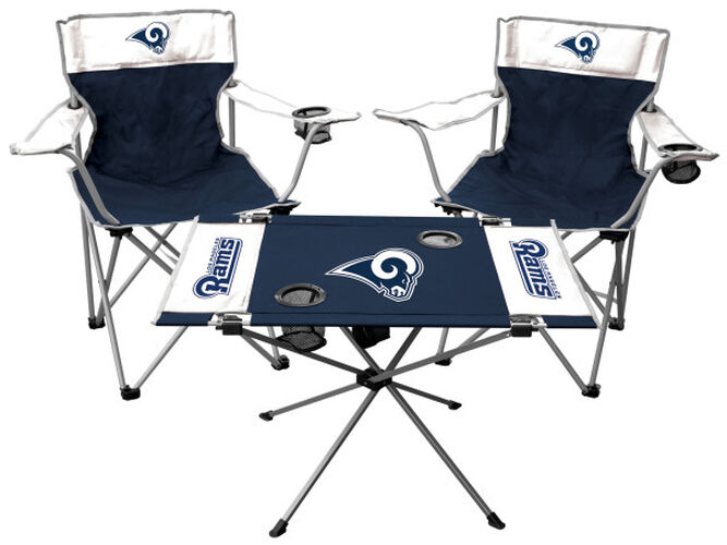 Front of Rawlings White and Navy NFL Los Angeles Rams 3-Piece Tailgate Kit With Two Kickoff Chairs, An Endzone Table, And A Transport Bag With Team Logo SKU #01041073611