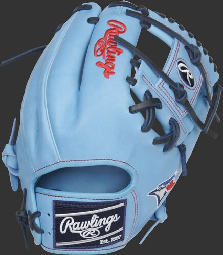 Columbia blue back of a Toronto Blue Jays Heart of the Hide I-web glove with a navy Rawlings patch - SKU: RSGPRO204-2TOR