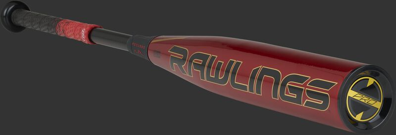 BBZQ3 Rawlings High School/College baseball bat with a red barrel and black/gold accents