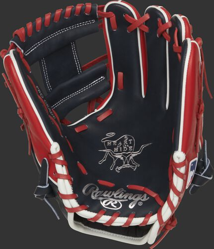 Navy palm of a Rawlings Cleveland Indians HOH glove with silver stamping and scarlet laces - SKU: RSGPRO204W-2CLE