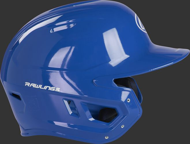 Right side of a MCC01A Rawlings Mach gloss helmet with a royal shell and compatible with a MEXT face guard extension