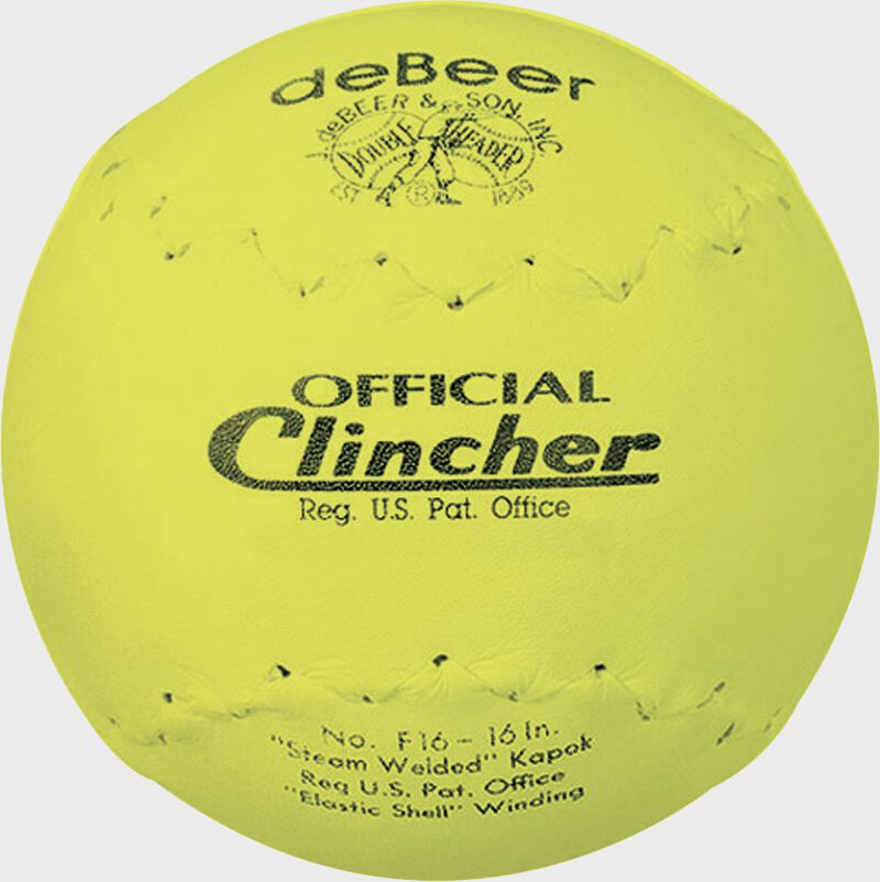 A yellow W601390 deBEER 16-inch clincher softball