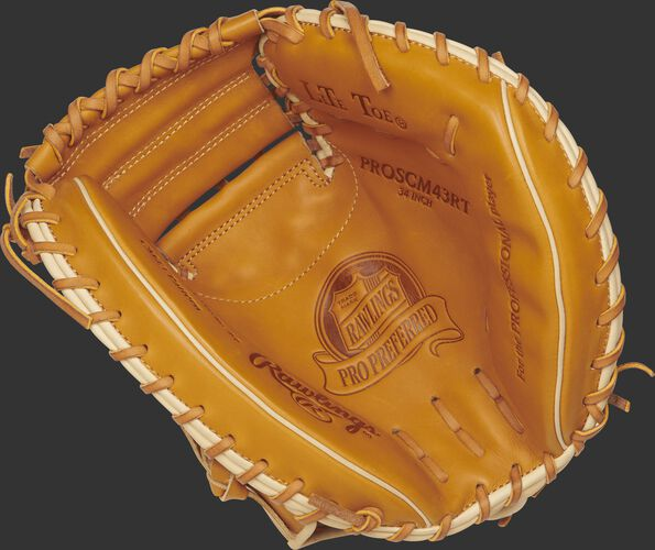 PROSCM43RT Rawlings 34-inch catcher's mitt with a rich tan palm and tan laces