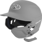 A matte silver MEXT attached to a Mach batting helmet showing the hardware image number null