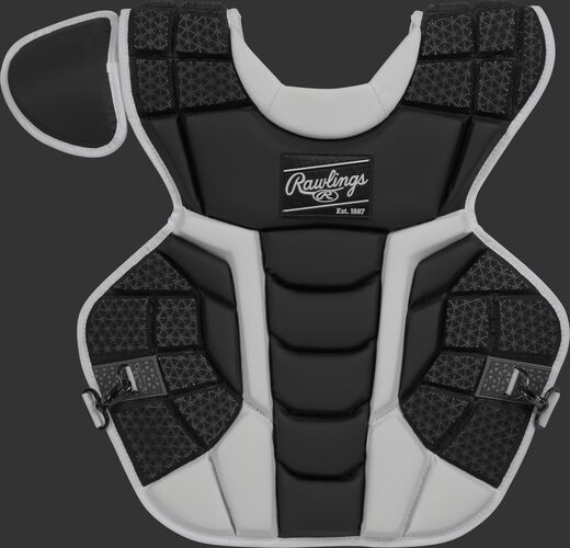 Front of a black CPMCN Rawlings Mach chest protector with Arc Reactor Core