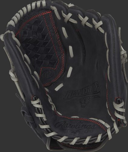 Palm view of a R120BGS Rawlings 12-inch recreational baseball/softball glove with a black palm and grey laces