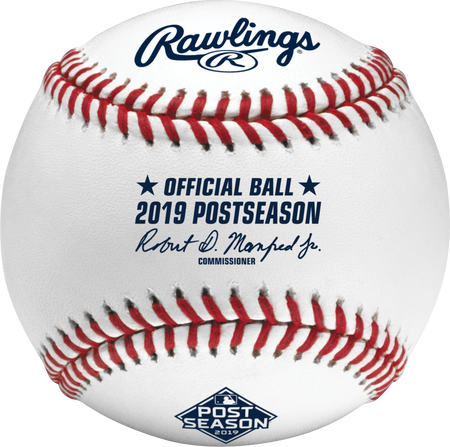 ROMLBPS19 MLB 2019 Post Season baseball with the official logo and commissioner's signature