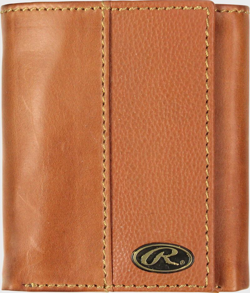 A tan RW80003-204 Bases loaded tri-fold wallet folded closed with a silver Oval R emblem in the bottom right corner