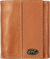 A tan RW80003-204 Bases loaded tri-fold wallet folded closed with a silver Oval R emblem in the bottom right corner image number null