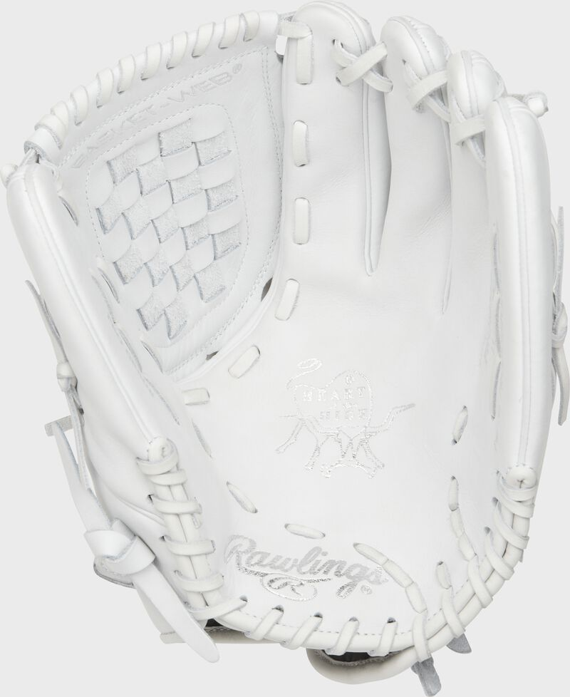 PRO125SB-3W Rawlings 12.5-inch softball glove with a white palm and white laces