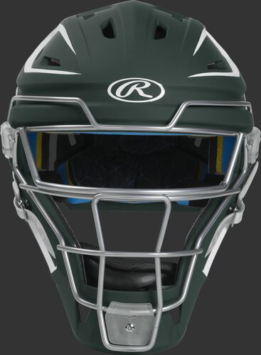 Front of a dark green CHMACH Mach hockey-style senior catcher's helmet