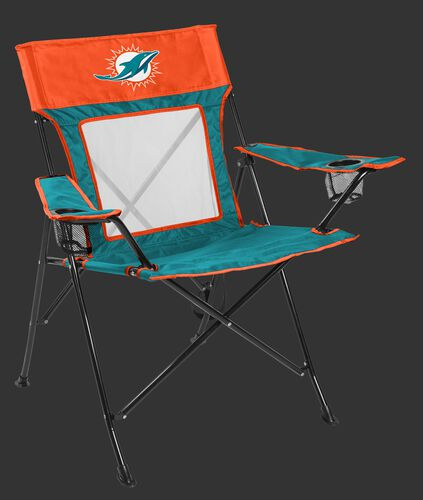 Front of Rawlings Aqua Green and Orange NFL Miami Dophins Game Changer Chair With Team Logo SKU #00651074111