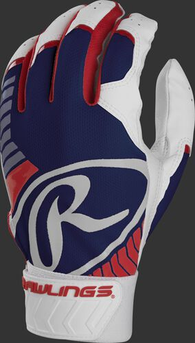 Back of a red/white/blue adult 5150 batting glove with a large white oval-R across the back of the palm - SKU: BR51BG-USA