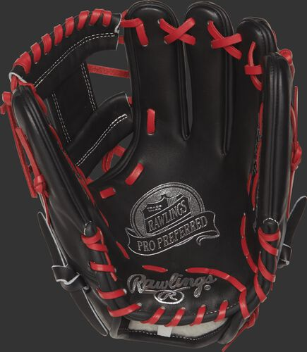 PROSFL12 Francisco Lindor Game Day pattern baseball glove with a black palm and scarlet laces