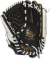 PRO120SB-3BW Rawlings 12-inch fastpitch glove with a black palm and white laces image number null
