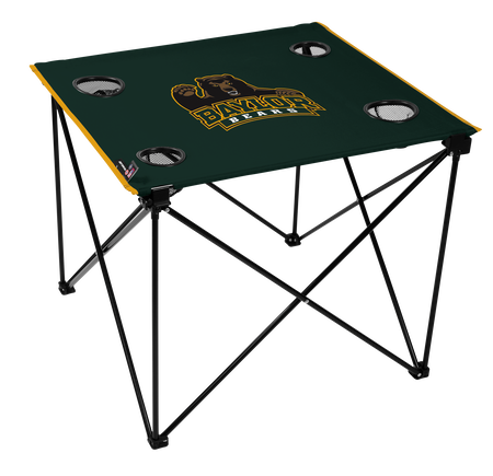 A green NCAA Baylor Bears deluxe tailgate table with four cup holders and team logo printed in the middle