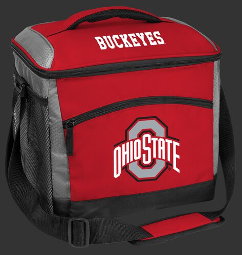 A red Ohio State Buckeyes 24 can cooler with a Buckeyes logo on the front - SKU: 10223042111
