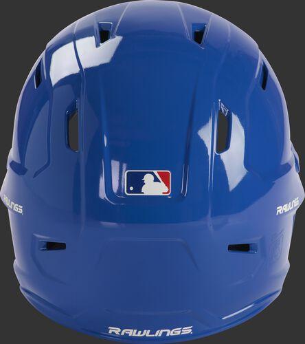 Back of a gloss royal MCC01 Mach batting helmet with the MLB logo sticker
