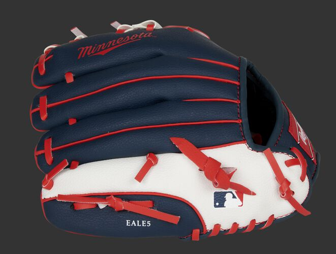 Back of a navy, white & red Minnesota Twins 10-inch youth glove with the MLB logo on the pinky - SKU: 22000028111