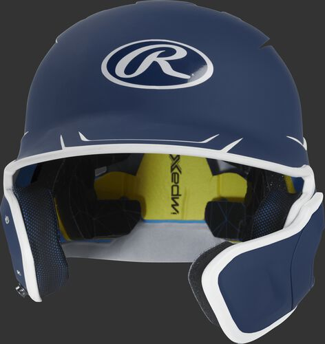 Front of a matte navy/white MACHEXTR senior size Mach batting helmet with face guard extension for right hand batters
