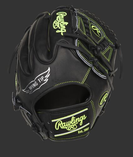 Black Wing Tip back of a Heart of the Hide infield pitcher's glove with optic yellow accents - PRO205W-30BOY