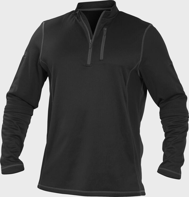 TECH2 Black Rawlings quarter-zip fleece pullover with graphite chest pocket zipper