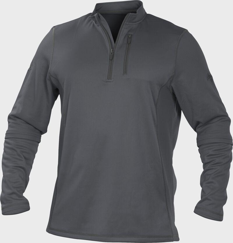 TECH2 Gray Rawlings quarter-zip fleece pullover with graphite chest pocket zipper