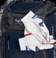 Two batting gloves hanging on the front Velcro strap of a Franchise baseball backpack - SKU: FRANBP-N image number null