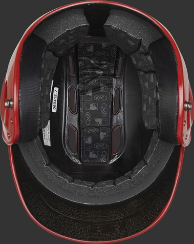 Inside of a scarlet R1601 Velo batting helmet with black foam padding
