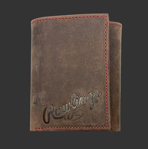 A brown high grade debossed tri-fold wallet with the Rawlings script logo debossed on the bottom right corner - SKU: RPW005-200