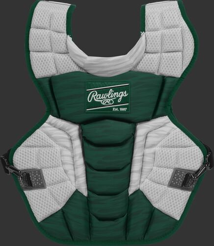 A dark green/white CPV2N Rawlings Velo 2.0 adult chest protector with a striped pattern