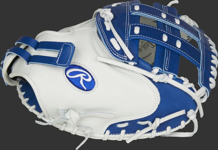 Thumb of a white RLACM33FPR Liberty Advanced Color Series 33-inch catcher's mitt with a royal H web