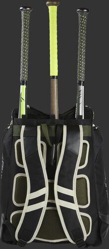 Back of a camo Rawlings Legion baseball bag with 3 bats in the bat storage sleeve - SKU: LEGION-CAMO