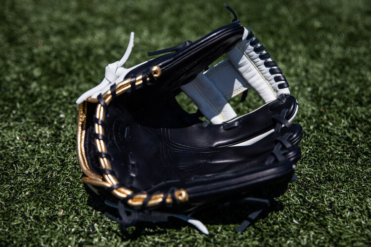 Black palm of an Encore I-web glove lying on a field - SKU: EC1150-2BW