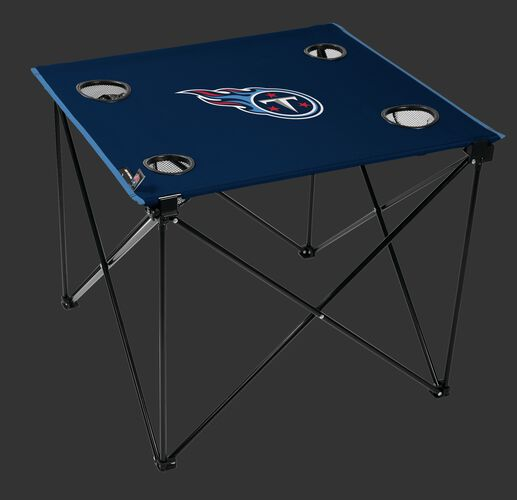 Rawlings Navy Blue NFL Tennessee Titans Deluxe Tailgate Table With Four Cup Holders and Team Logo Printed In The Middle SKU #00701069111