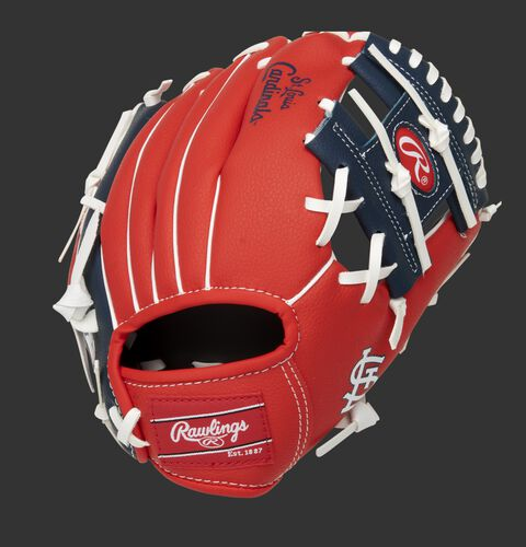 Back of a red/navy St. Louis Cardinals 10-inch I-web glove with a red Rawlings patch - SKU: 22000007111