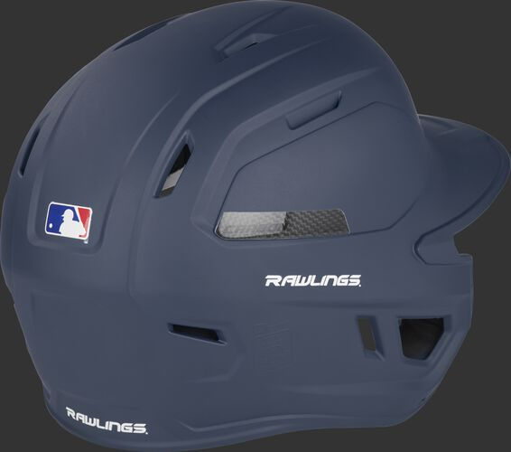 Back right of a matte navy CAR07A Rawlings adult high performance batting helmet with air vents on the back