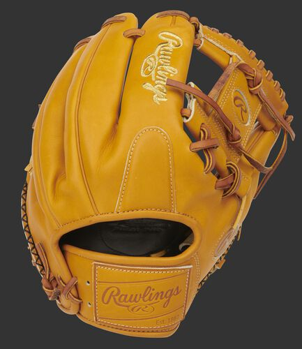 Rich tan back of an 11.5-Inch Pro Preferred I-web glove with a tan leather Rawlings patch - SKU: PROS204-2RT