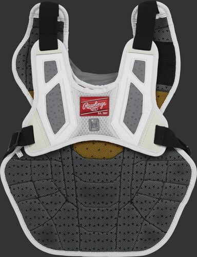 Back harness of a white CPV2N adult Velo 2.0 chest protector with Dynamic Fit System 2.0