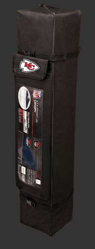 Black carry case of a 9x9 Kansas City Chiefs canopy with a team logo on the side compartment - SKU: 03231071112