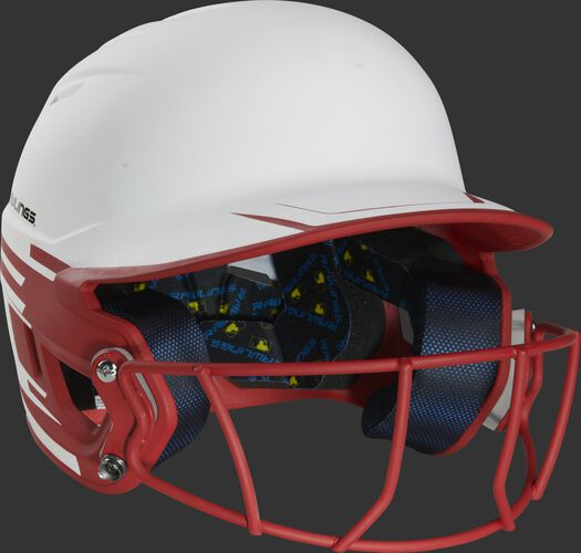 Front right of a Rawlings Mach fastpitch batting helmet with a scarlet mask - SKU: MSB13S-W/S
