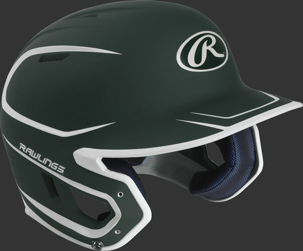 Right angle view of a matte MACH Senior batting helmet with a dark green/white shell