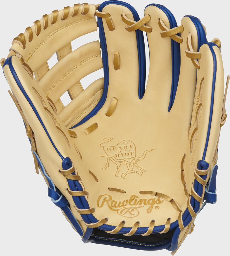 Camel palm of a Rawlings Heart of the Hide ColorSync 5.0 infield glove with gold stamping and gold laces - SKU: PRO205-6CRG